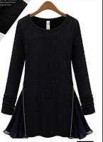 free shipping ! girl's fall winter zipper tops Women's European Amercian fashion clothing female oversize cotton spandex T-shirt