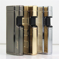 Touch Sensitive Torch Cigarette Gas Lighter Refillable Butane Jet Flame Lighter
