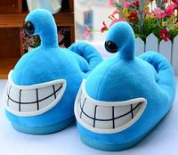 Plush cute 1 pair cartoon laugh shark thick winter warm home floor slippers no slip heel cover children holiday toy girl gift