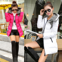 real shot in autumn and winter 2014 new Korean version of Slim stitching hooded long down jacket women coat