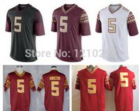 Free Shiping FSU #5 Jameis Winston Jersey Red White Stitched Names&Logos Winston College Football Florida State