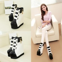 2014 spring and autumn boots wedges platform elevator platform shoes ultra high heels snow boots