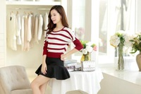 951 # 2014 fall and winter clothes new Korean female hedging bat sleeve striped sweater