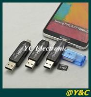 Free shipping 2014 Universal 2 in 1  NEW OTG smart Card Reader 2.0 hub OTG Card reader TF Micro SD card USB 2.0 hub