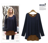Free shipping 2014  High quality  Autumn Large size women's round neck long-sleeved dress Casual shirt