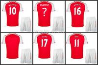 HOME RED 2015 OZIL soccer shirt&shorts  ROSICKY PODOLSKI football shirt 14 15 WILSHERE ALEXISsoccer jersey