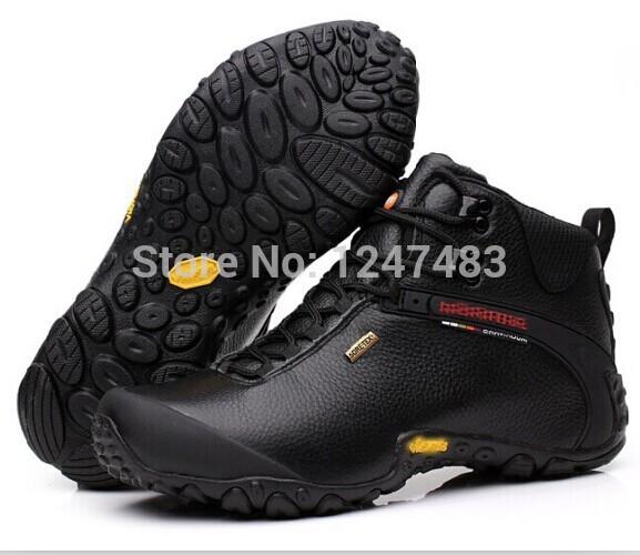 tênis para caminhada ao ar livre profissional alpinismo calçados de couro genuíno impermeável oi botas top + aircushion solas de borracha(China (Mainland))
