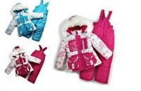 2014 New Children's Winter Clothing Set baby girl Ski Suit Windproof Down Coat Flower Warm Coats Fur Jackets+Bib Pants 3 Colors
