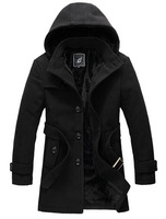 free shipping  men's high quality brand dust coat, men's wool  windcoat  with removeble hood , men's claasic style 150