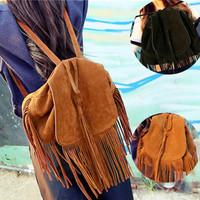 Genuine Leather Casual Bags Women Tassel Shoulder Bags Backpacks School Bag