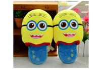Plush cute 1 pair cartoon bread soft totoro Spongebob Minions winter warm home floor slippers children holiday toy girl gift