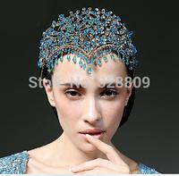 New style Luxurious  Queen crown  Princess blue crystal bridal diadem bridal tiaras wedding  dress accessories