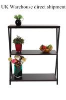 Fashionable design Multifuncitonal Three-Layer Wooden Shelves Storage Rack Flower Shelf Black For Home and Garden  Free Shipping