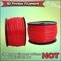 X-SHOP Free Shipping X! 3D Printer Filament 1.75mm PLA 1KG Red