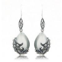 2014 Beautiful Charm Elegant Luxury Flower & Tear Drop Opal Pendant Long Dangle Earrings Christmas Gift For Women 2014 PT34