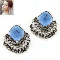 4 Colors 2014 New Fashion Design Metal Luxury Vintage Big Stone Pendant Tassel Long Earrings Bohemia Jewelry For Lover PT31