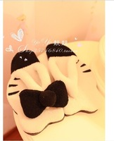 Plush cute 1 pair cartoon sweet bowknot hello kitty lovely home floor slippers children holiday toy girl gift