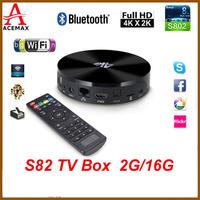 1pc S82/S89 Amlogic S802 Quad Core 2GHz Android TV Box XBMC 2G RAM 16G ROM Dual Wifi  4K Display Bluetooth