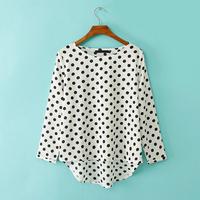 roupas femininas 2014 new wave point printed blusas loose casual blouse round neck bat sleeve Hedging chiffon women blouses