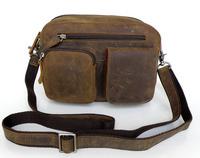 2015 New Genuine Leather Men's bag High quality crazy horsehide shoulder bags for men Vintage men messenger bag