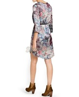 2014 spring vintage floral printed dress with belt ladies Casual dresses summer dress plus size O-neck women dress B19 CB030991