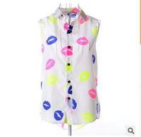 new body 2014 autumn Women's new sleeveless top big yards lips love chiffon sheer print  turn down collar casual blouse shirt