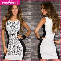 Black and White Printing Sleeveless Sexy Bodycon Dress Women Novelty Dresses Summer Ladies Club Wear Elegant Alibaba Express