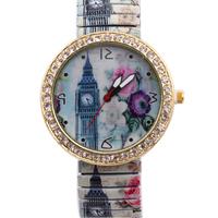 Free Shipping Elegant Simple Big Ben pattern Metal Spring Band Wrist Watch