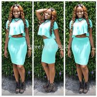 2014 Sky Blue Women Summer 2 Pcs Bandage Bodycon Dress Ruffles Mini Ladies O-Neck Sexy Party Club Dresses Vestidos 9726