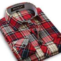 free shipping spring autumn men warm casual shirt retro vintage long sleeve plaid male corduroy shirt man's dress shirts