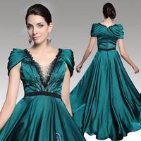 DORISQUEEN  free shipping new arrival 31246 Luxury Beaded Empire stain floor length emerald green women evening dress long 2014