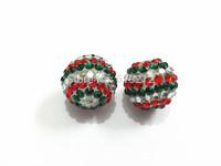 Newest !  ! 20MM 100pcs/lot  Red/Dark Green/Clear  Resin Stripe Rhinestone Beads Free Shipment !