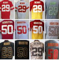 New KC 29 Eric Berry Jersey Red Elite 50 Justin Houston Jersey White Black Grey Camo Pro Bowl Fashion Wholesale Price