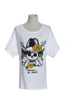 2014 Hot Sale Fashion New O-Neck Summer Women Stylish Skull Printed Casual T-Shirt White Free Size Drop Shipping Free Shipping