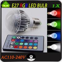 Free shipping [ E27 RGB LED Lamp ] 3W 9W AC100-240V led Bulb Lamp with Remote Control multiple colour led lighting free shipping