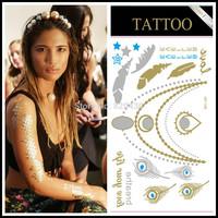50pcs/set Flash Tattoo in Turquoise colour Metallic tattoo Turquoise blue flash tattoo 6  models