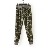 HH27 women's autumn paragraph all-match camouflage elastic waist slacks sweat pants