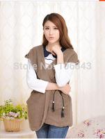 Lamb plush velvet waistcoat female villi with cap a long paragraph Vest Jacket