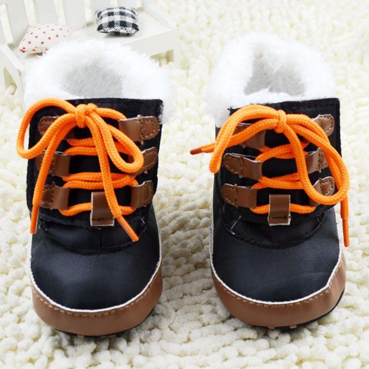 Inverno quente bebés meninos botas de neve preto / à moda do bebê criança velcro prewalker / confortável do bebê high top sapatos(China (Mainland))