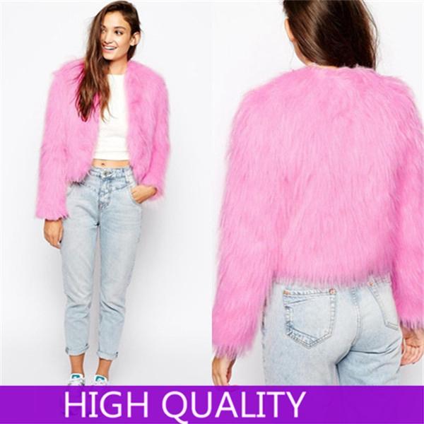 2014 Casual Elegant Ladies Faux Fur Coats Winter Long Sleeve Pink Fur Coat Jacket Overcoat Short Design Outerwear Free Shipping(China (Mainland))