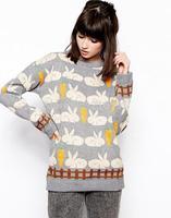 2014 new fashion women sweet cute Radish rabbit printed knitwear Lady winter casual brand design pullover sweater#J419