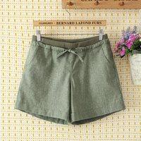 F79 super beast candy color Flax Elastic Waist solid add fertilizer increased shorts shorts