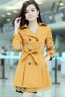 2014 Winter & Autumn Women Longsleeve Solid Slim Female Outwear  Lace Paneled Double-breasted A-line Coat