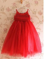 2014 Korean design girls Christmas dress kids lace sparkle tutu maxi party princess dress whole sale