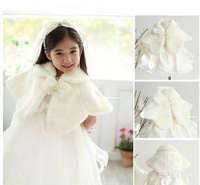2014 Winter new thickening fake fur shawl Beaded bow girl amice child wedding formal dress cape Children's Poncho A4967