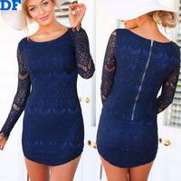 Vestido De Festa 2014 New Women Lace Dress Long Sleeve Over Hip Sexy Evening Club Mini Dresses Plus Size Slim Bandage Dress Blue