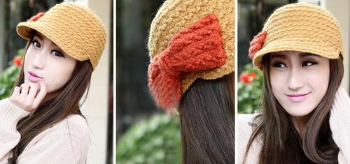 Women Girls Warm Slouchy Bowknot Knit Beanie Crochet Hat Brim Cap Free Shipping(China (Mainland))