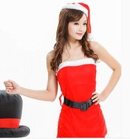 Sexy fitted uniforms temptation chest wrapped Christmas nightclub DS performance clothing princess party dress with belt