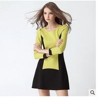 Fall 2014 new European and American women's fashion Slim thin stitching stretch long-sleeved dress -O005