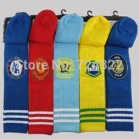New arrival sports children kids child soccer sock boys girls striped football socks long knee baby black socks Free shipping